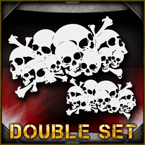 skull background 5 double set airbrush stencil template