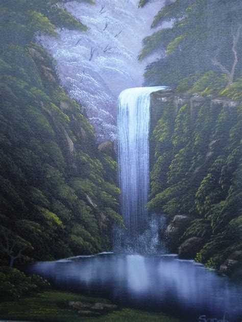 bob ross painting a waterfall pin by vera cbell on painting ideas