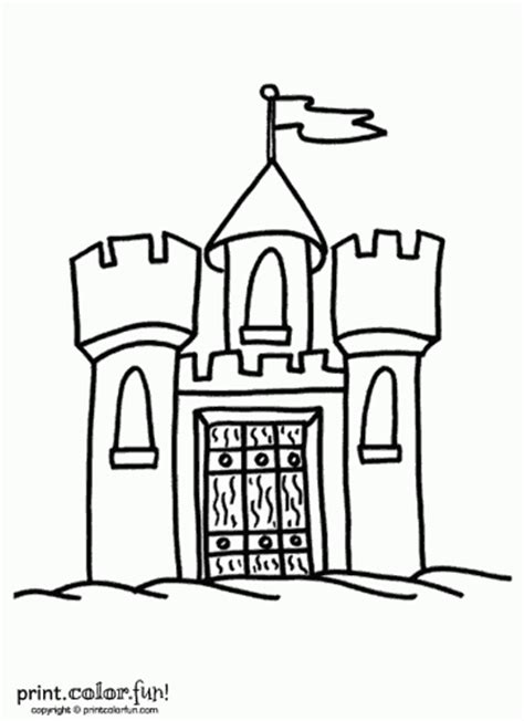 small castle coloring page castle with flag coloring page print color fun