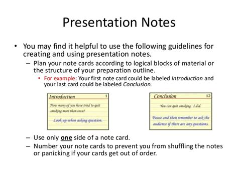 Presentation Note Cards Template Presentation Notecards