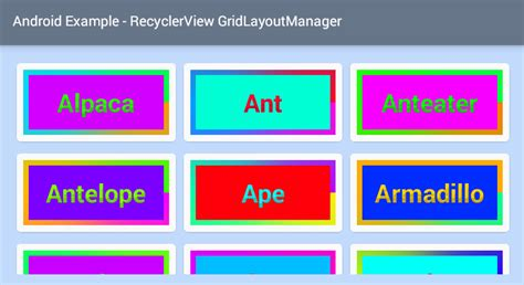 xml code for grid layout android recyclerview grid layout exle