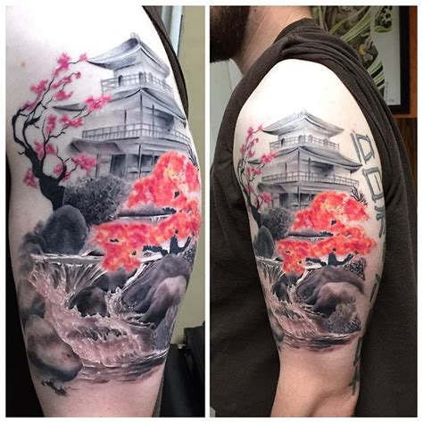 oriental landscape tattoo japanese sleeve the body is a canvas pinterest