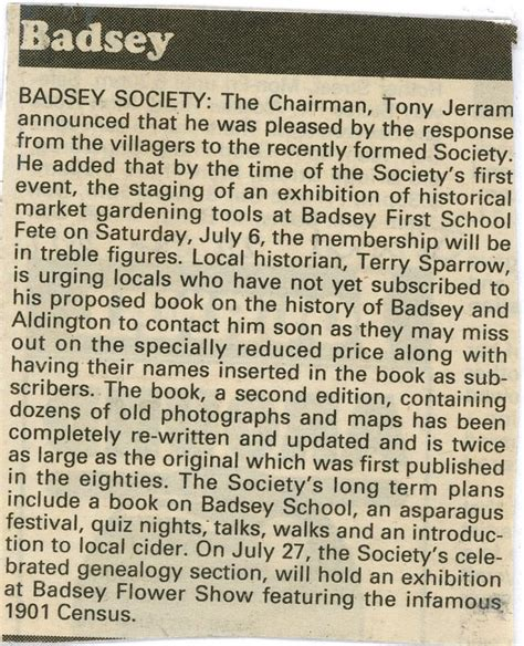 society section newspaper news article 2002 mar 21 badsey society news in the