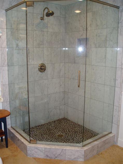 Amazing Bathroom Sliding Glass Doors #4: Bathroom-artistic-bathroom-interior-design-with-corner-shower-room-designed-with-glass-door-and-cool-shower-pan-also-bronze-faucet-combine-with-white-tile-wall-and-brown-floor-bathroom-shower-tile-id.jpg