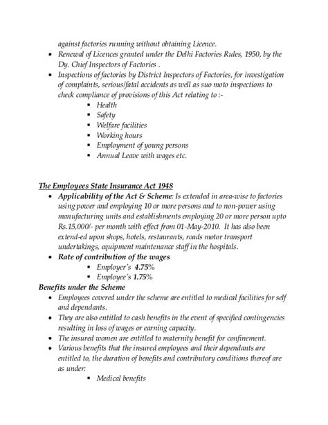 Factories Act 1948 Mba Notes by Employment Legislation Mba Hrm Notes