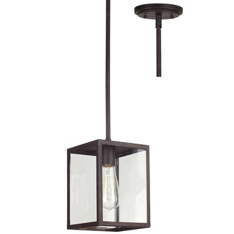 Allen And Roth Pendant Lighting Shop Allen Roth Bristow 6 5 In W Rubbed Bronze Standard Pendant Light With Clear Shade At