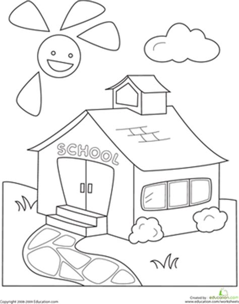 Color The Schoolhouse Worksheet Education Com School Coloring Pages For Kindergarten