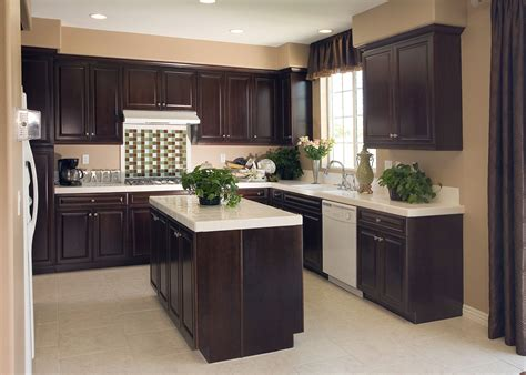 picture   shaped apartment kitchen  dark brown