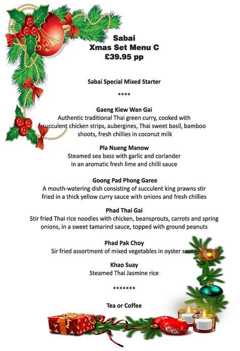 best new christmas menus menu sabai authentic thai restaurants