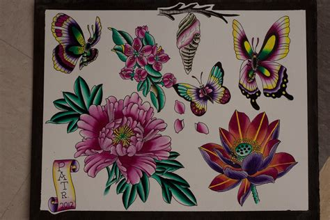 flower tattoo flash pat flash sheet dingers butterfly flowers
