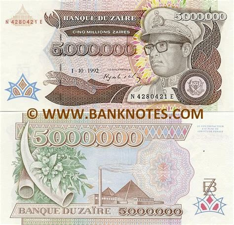 Sese Dd zaire 5000000 za 239 res 1992 front leaping leopard zairean dictator mobutu sese seko kuku