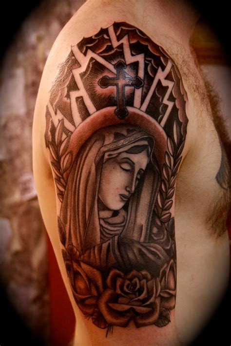 virgin mary half sleeve tattoo designs religious half sleeve designs