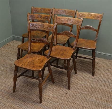 set of six elm antique country kitchen chairs