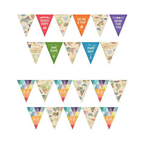 world map pattern small hanging paper flag 2 5m length
