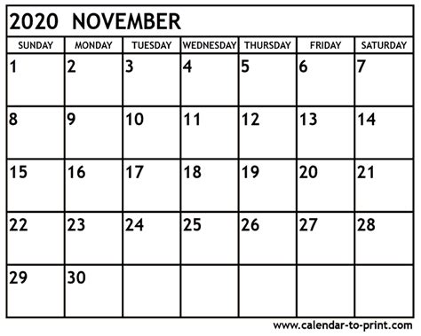 November Calendar November 2020 Calendar Printable