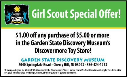 Garden State Discovery Museum Coupons Scout Programs The Garden State Discovery Museum