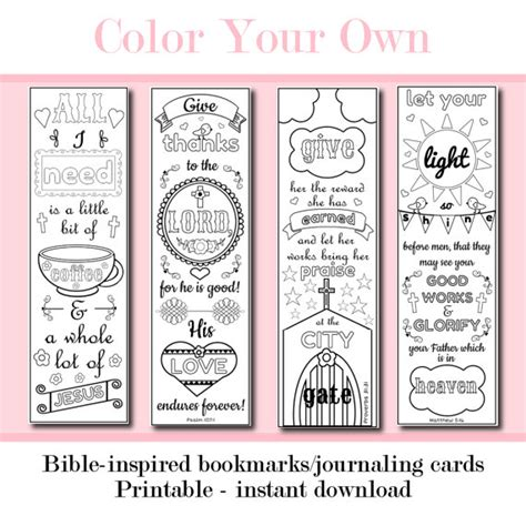 printable color your own bookmarks color your own scripture printable bible by peachandmint