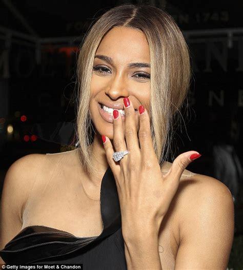 ciara s 15 carat engagement ring overshadows racy dress