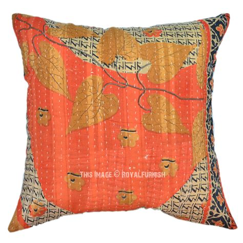 Quilted Pillow Covers by Outdoor Indoor Bengali Sari Kantha Quilted Pillow Cover Royalfurnish