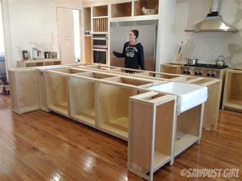 how to make kitchen island from cabinets kitchen island sawdust girl 174