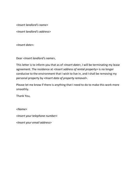 Rental Agreement Termination Letter Template Sle Of Termination Letter For Rental Agreement