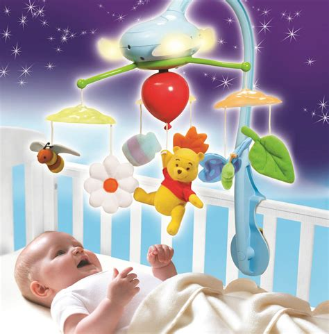 baby and lights winnie the pooh clouds cot crib mobile musical