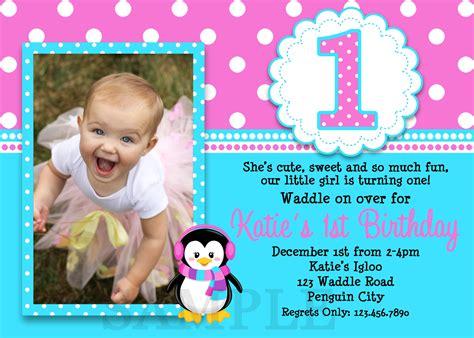 printable 1st birthday invitations girl printable birthday invitations girls penguin party