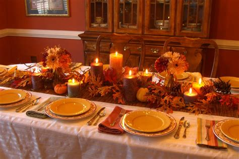 extensive white decorating table for thanksgiving with orange fall leafs elegant homes showcase