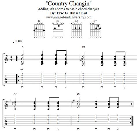 Country Music Guitar Chord Progressions | country chord changes guitar lesson garage band university