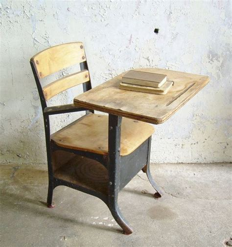 rustic vintage school desk chair mid century black