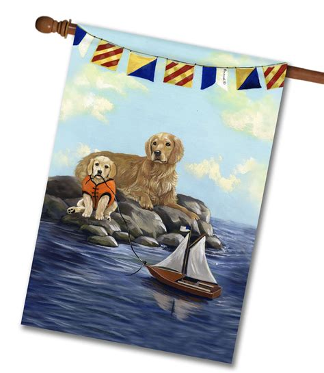 golden retriever house golden retriever golden retreat house flag 28 x 40 custom printed flags