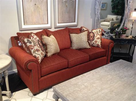 rust colored couch rust colored transitional sofa furniture showroom