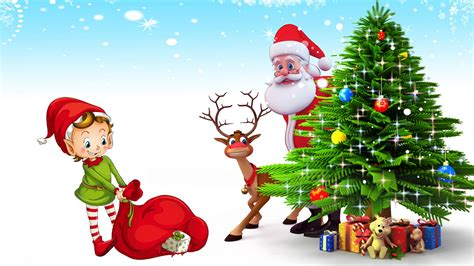 photo of santa claus and christmas tree postcard santa claus deer tree with gifts hd desktop backgrounds free