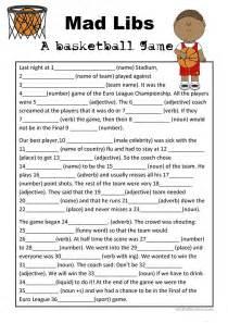 mad libs basketball game worksheet free esl printable