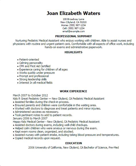 physician assistant resume template medical assistant resume