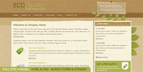 Eco Site by Eco Enviro Html Site 6 Pages Psd Included
