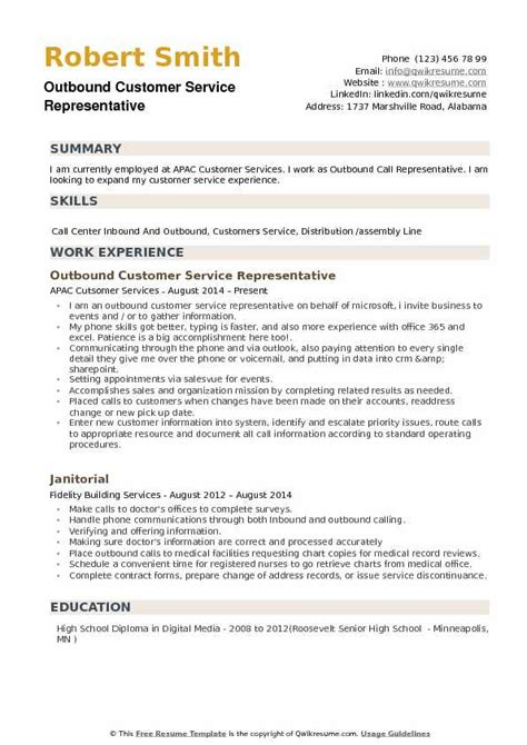 Customer Service Rep Resume by Outbound Customer Service Representative Resume Sles