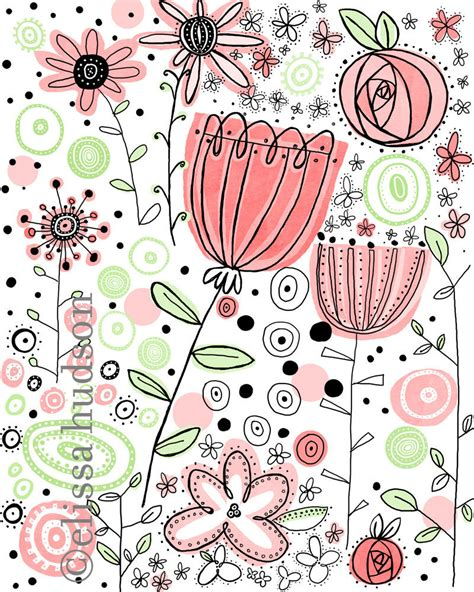 doodle etsy pink flowers illustrated wall print
