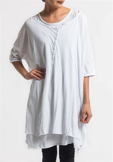 Layer Tunic 2 rundholz black label 2 layer cotton button tunic in white santa fe goods trippen rundholz