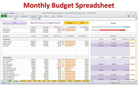 monthly bill household budget template spreadsheet preview