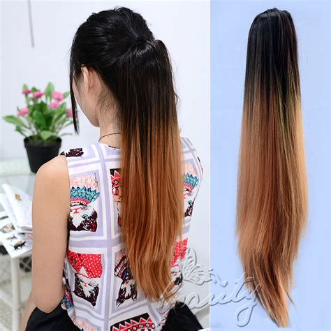 Hairclip Ombreponytailwig layered ponytail clip on ombre synthetic hair extensions claw hair us
