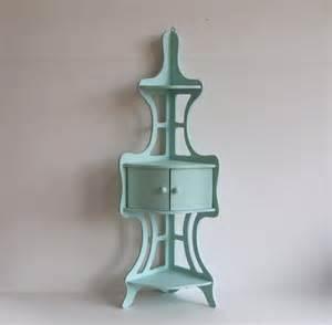 corner wall shelf vintage three tier wood curio display