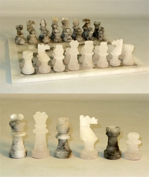 white chess set alabaster chess set natural grey translucent white