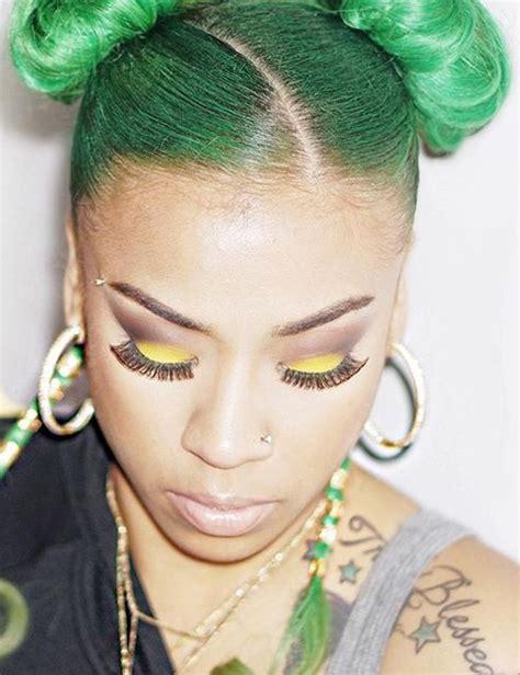 keyshia cole hair color keyshia cole green buns uneven color