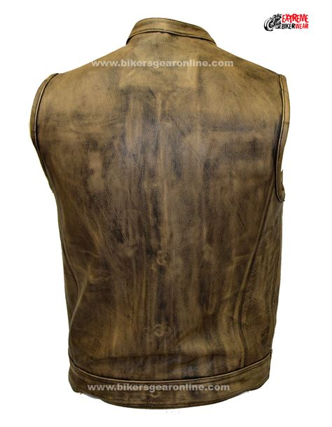 mens leather motorcycle vest men s distressed brown leather motorcycle club vest