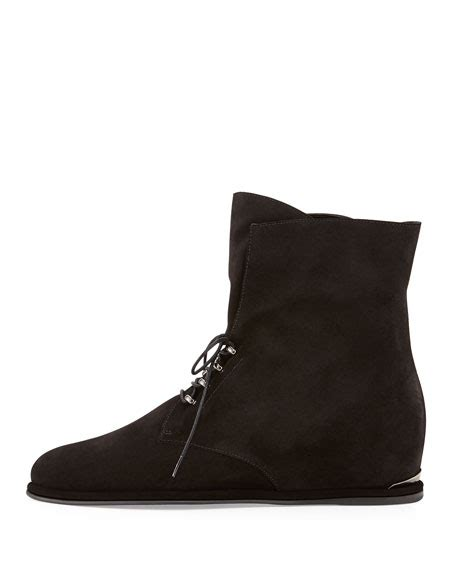 stuart weitzman stepacross lace up suede wedge ankle boot