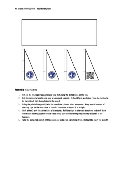 air rocket template air rocket investigation by uk teaching resources tes