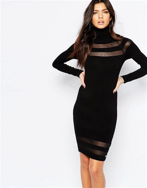 lipsy knitted dress lipsy lipsy roll neck knitted dress with mesh inserts at