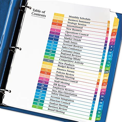 avery ready index template 31 tab avery ready index table of contents dividers 31 tab