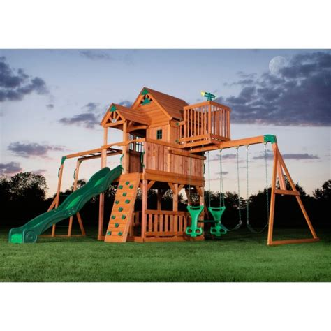 big wooden swing sets skyfort ii cedar swing set features large clubhouse with